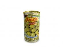 Aceituna verde manzanilla aliñada con aceite de oliva